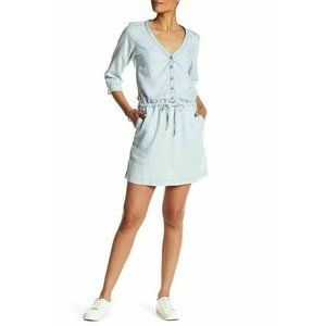 Michael Stars Blue Linen Denim Shirt Dress Size L